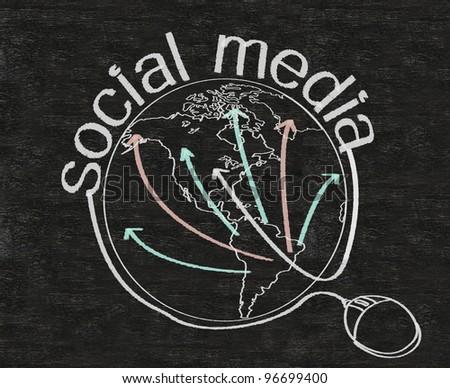 social media marketing written on blackboard background with world
