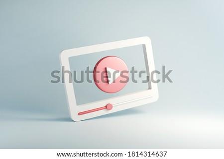 Social media, Minimal video media player Interface on blue background, 3d render.