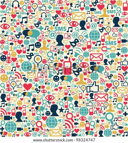 Social media network icon set seamless texture pattern background