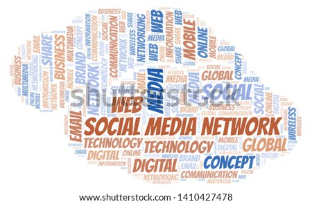 Social Media Network word cloud. Word cloud made with text only.