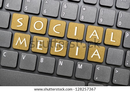 Social media on keyboard - stock photo
