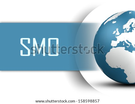 Social Media Optimization concept with globe on white background