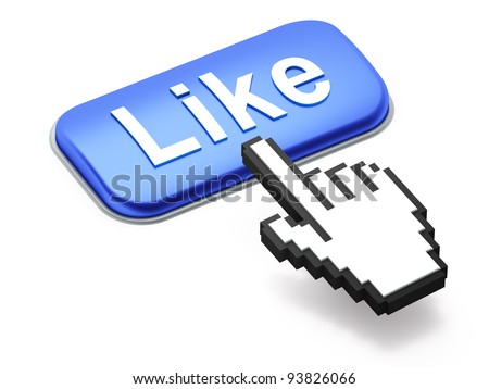 Social media or social network concept: Hand-shaped mouse cursor press Like button on white background