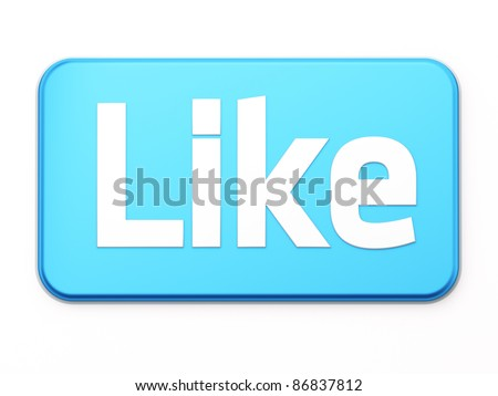 "Social media or social network concept: ""Like"" button 3d  render on white background - stock photo"