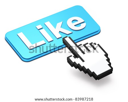 Social media or social network concept: Like button isolated on white background