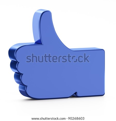 "Social media or social network concept: ""Like"" symbol on white background,  3d render"