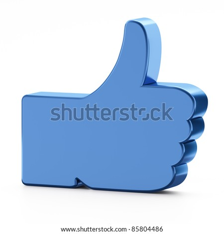 Social media or social network concept: Like symbol on white background,  thumb up.