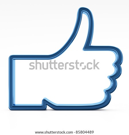 Social media or social network concept, Like symbol on white background,  thumb up