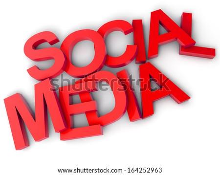 Social Media over white background