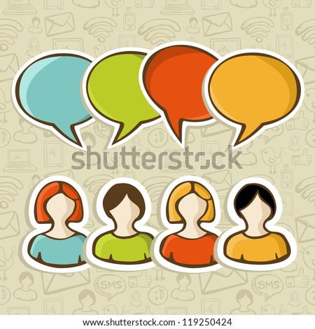 Social media people connection with speech bubble over over icon set pattern background.