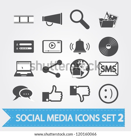 Social media related icons for your design or application. Vector version also available in my portfolio.
