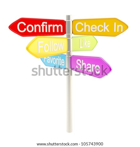 Social media responsibility metaphore as signpost roadsign isolated on white