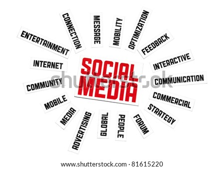 Social Media Sign. Cut pieces of paper with text on social media theme. Conceptual image made by word cloud technique. Isolated on white.