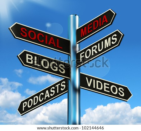 Social Media Signpost Showing Information Support And Communication