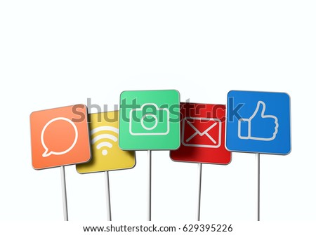 Social media signs. Camera, mail, wifi, speech and thumbs up icons. 3D rendering