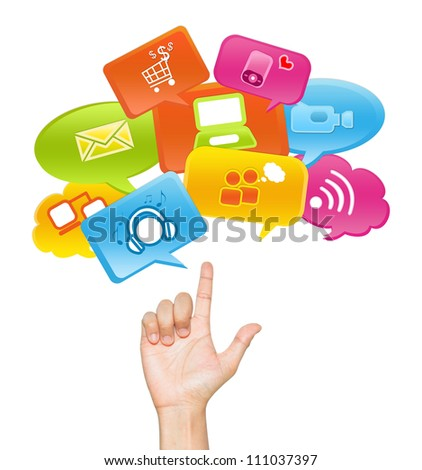 Social Media, Social Marketing or E-Commerce Concept Present By Hand With internet Communication Icon Above Isolate on White Background