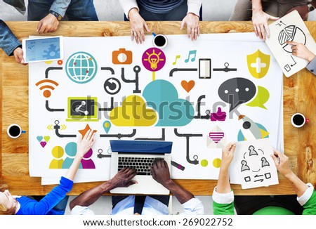 Social Media Social Networking Connection Data Storage Concept
