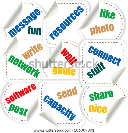 Social media stickers with networking concept words - raster