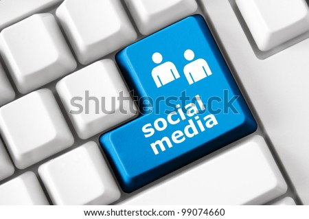 Social media text and people symbols on the modern keyboard. Concept
