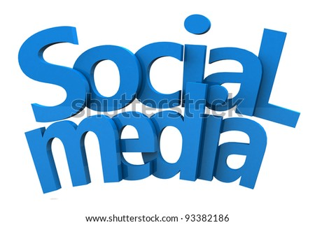 social media text 3d in blue red and green color on white