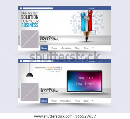 Social Media Web Banner, Website Header for page. Template for  Advertising business campaign with space for your images and text.