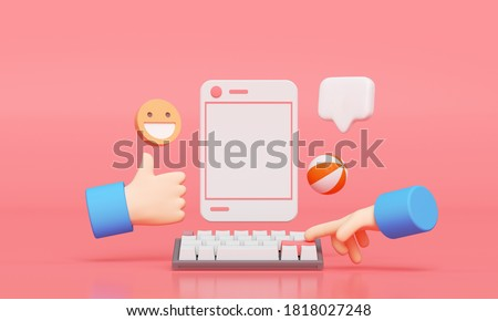 Social Media with photo frame, like button and cartoon hand on pink background illustration. 3D render