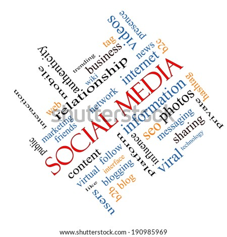 Social Media Word Cloud Concept angled with great terms such as network, follow, content and more.