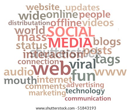 Social Media word cloud showing the main buzz keywords that happen around the web isolated on white background.