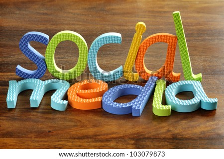 Social media written in foam letters concept for social networking within youth culture
