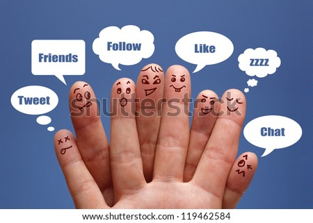 Social network concept finger people in discussion with speech bubbles
