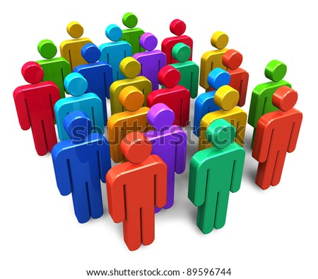 Social network concept: group of color human figures isolated on white background