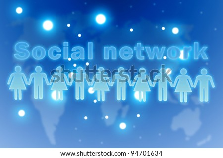 Social network concept. Group of people around the globe