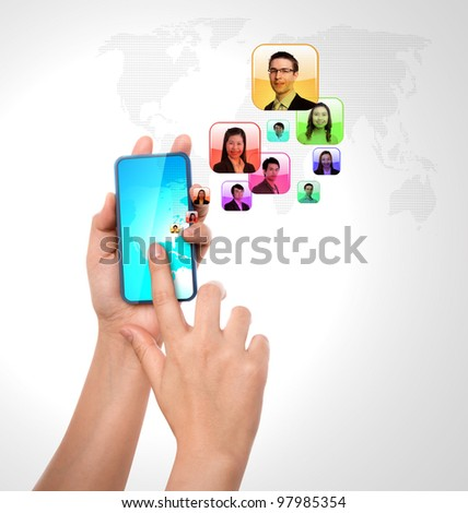 Social network concept : Mobile phone with colorful face application icons