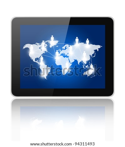 Social Network concept on black tablet pc on white background