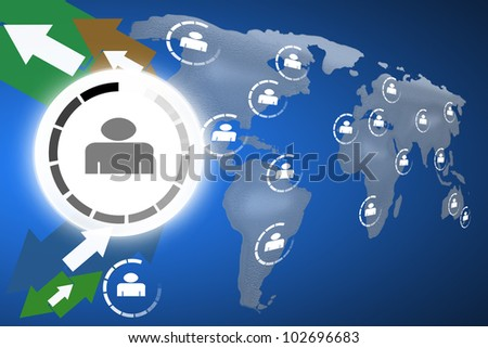 Social network concept on world globe map background