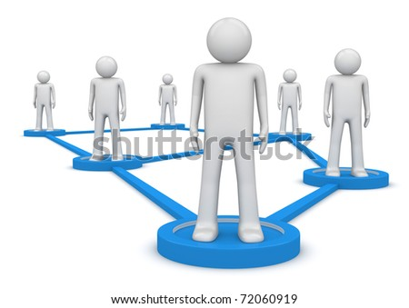 Social network concept. People standing on pedestals connected by lines. Isolated. One of a 1000+ characters series. - stock photo