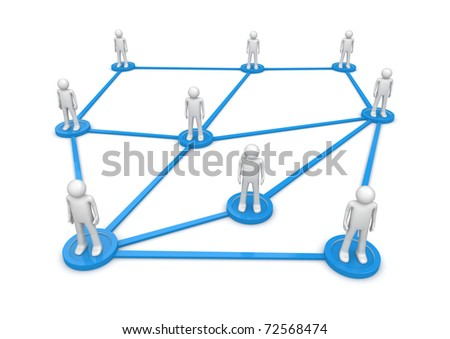 Social network concept. People standing on pedestals connected by lines. Isolated. One of a 1000+ characters series.