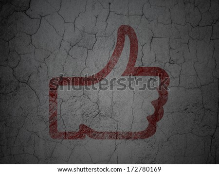 Social network concept: Red Thumb Up on grunge textured concrete wall background, 3d render