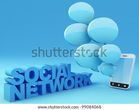 Social network concept. Smartphone with speech bubbles. 3D Render