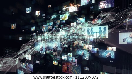Social network concept. Video streaming service.