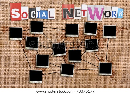 Social network concept with blank photo frames in canvas background