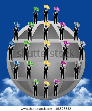 Social Network Concept With Many Businessman in Global Network