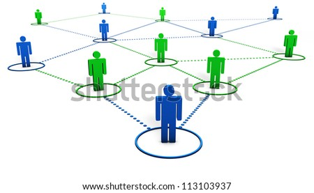 Social Network concept with team of 3d people connected by dotted lines on white background.