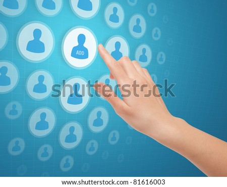 Social network concept. Woman hands touch social media icon to add a friend on futuristic screen.