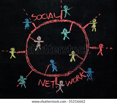 Social Network connecting people sketch on a blackboard - stock photo