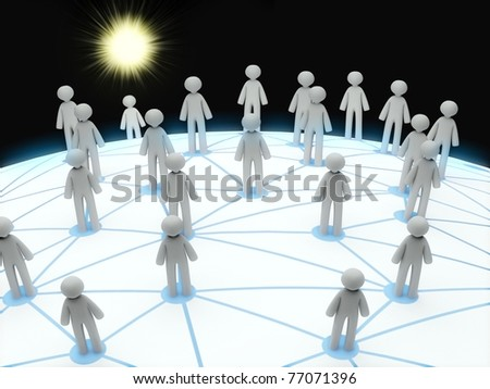 Social network connection concept, abstract 3d planet - stock photo