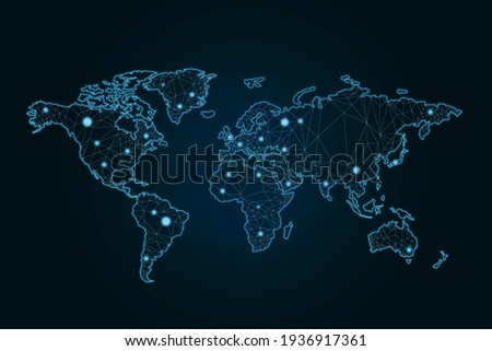 Social network connection concept with glowing contour lines countries and dots on dark background. 3D rendering