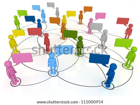 Social Network Connections 3D concept characters chatting in linked web Isolated on White Background