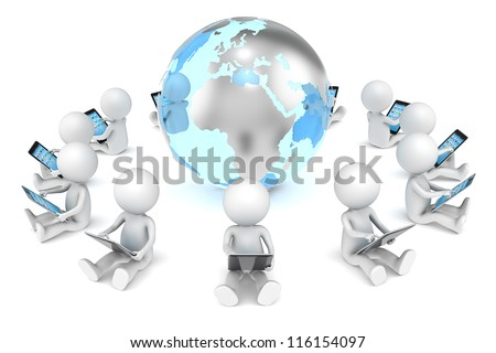 Social Network. 3D little human character X12 sitting, with tablet computers, in a circle around the Globe. Transparent Globe with Metal Continents. People series.