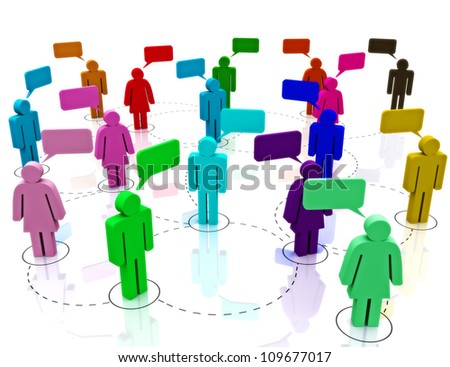 Social Network Gathering, male and female communication concept